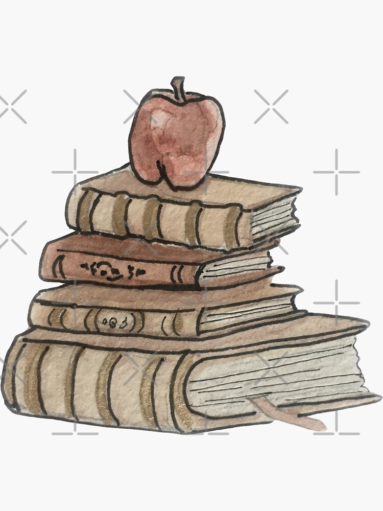 Antique Book Stack and Apple Illustration in Watercolor by WitchofWhimsy