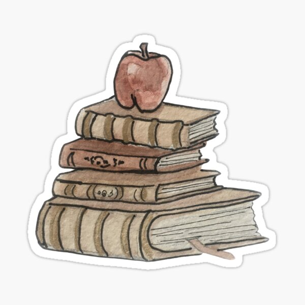 Antique Book Stack and Apple Illustration in Watercolor Sticker