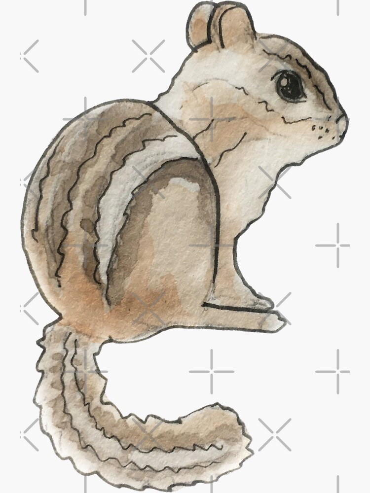 Cute Chipmunk Illustration in Watercolor by WitchofWhimsy
