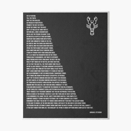 Jordan B Peterson's Rules Art Board Print