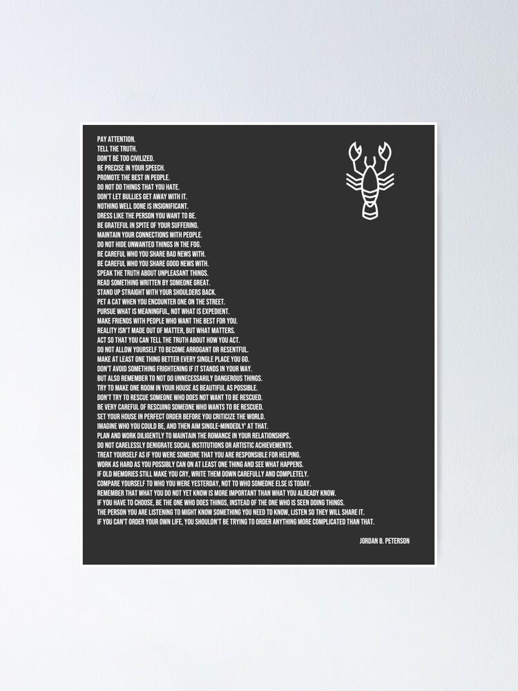 Alternate view of Jordan B Peterson's Rules Poster