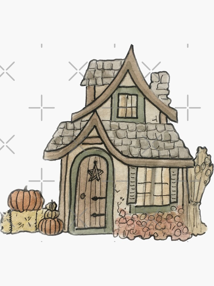 Autumn Cottage Illustration in Watercolor by WitchofWhimsy
