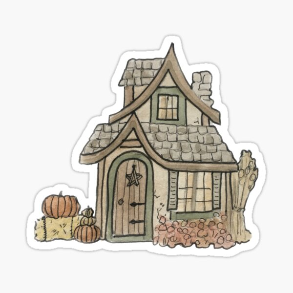 Autumn Cottage Illustration in Watercolor Sticker