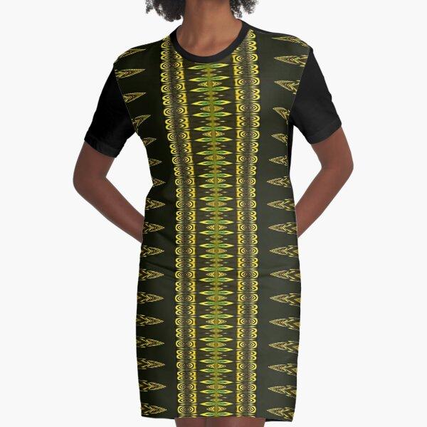 Golden Decor Crochet Graphic T-Shirt Dress