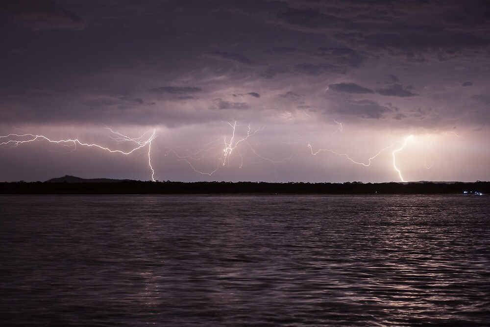 Lightning over Mt Tinbeerwah by James Ray