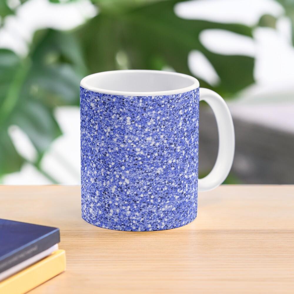 Blue glitter background on to Mug