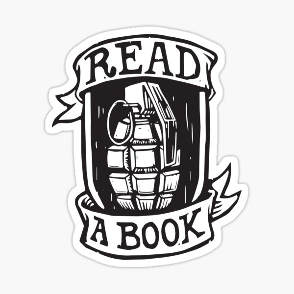 Read a Book Grenade Sticker