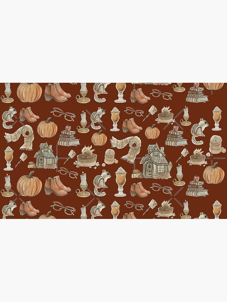 Cozy Fall Pattern - Wrap Around with Burnt Orange Background by WitchofWhimsy