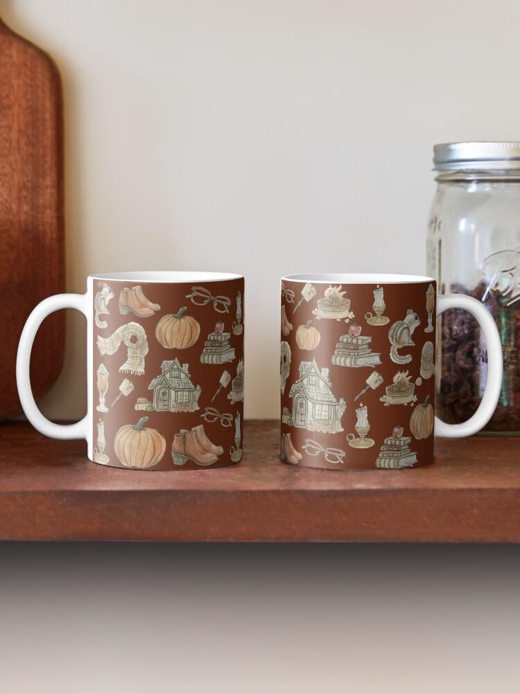 Alternate view of Cozy Fall Pattern - Wrap Around with Burnt Orange Background Mug