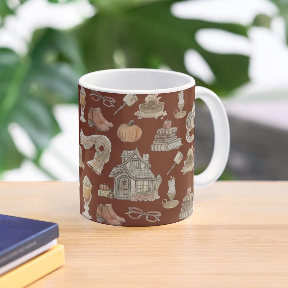 Cozy Fall Pattern - Wrap Around with Burnt Orange Background Mug