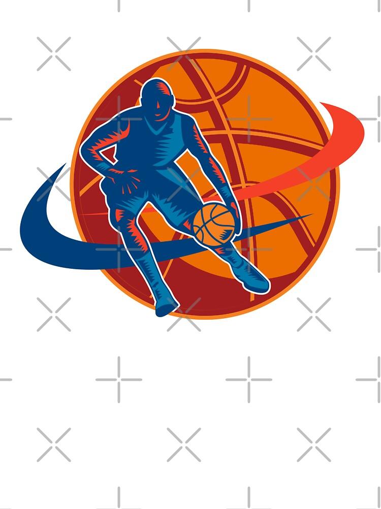 Basketball Player Dribbling Ball Woodcut Retro by patrimonio