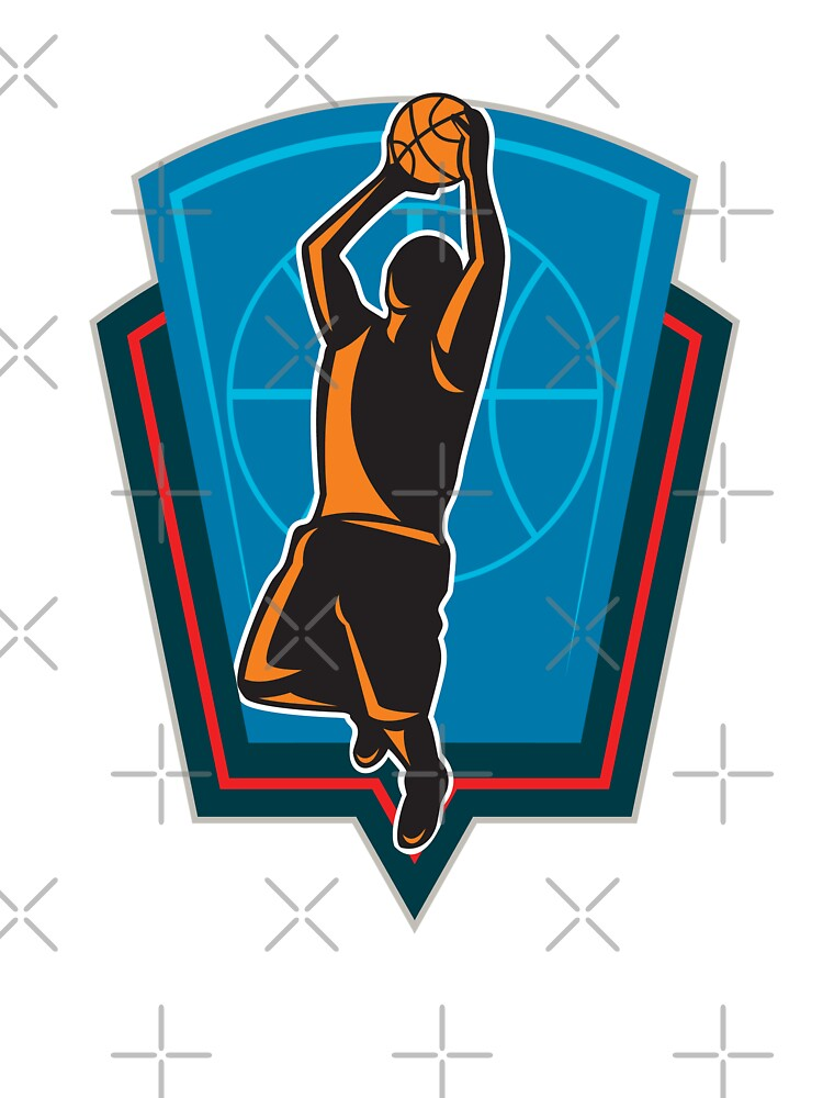 Basketball Player Rebounding Ball Shield Retro by patrimonio