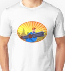 Steel Worker Carry I-Beam Retro Oval T-Shirt