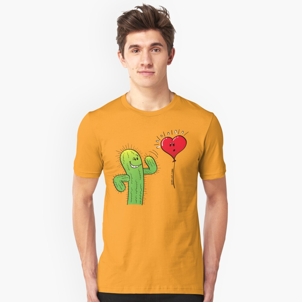 Cactus Flirting with a Heart Balloon Unisex T-Shirt Front