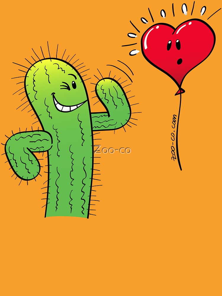 Cactus Flirting with a Heart Balloon by Zoo-co