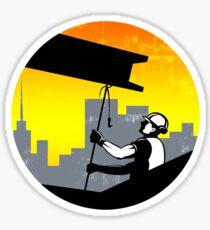 Construction Worker I-Beam Girder Retro Sticker