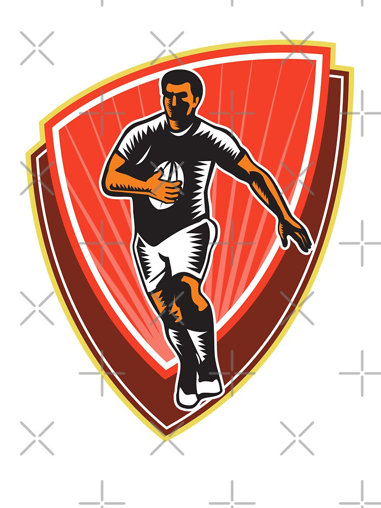 Rugby Player Running Ball Front Woodcut by patrimonio