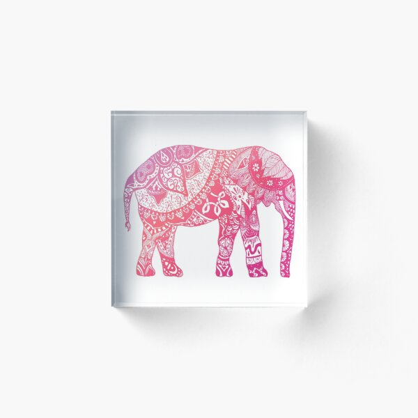 Light Pink Elephant Acrylic Block