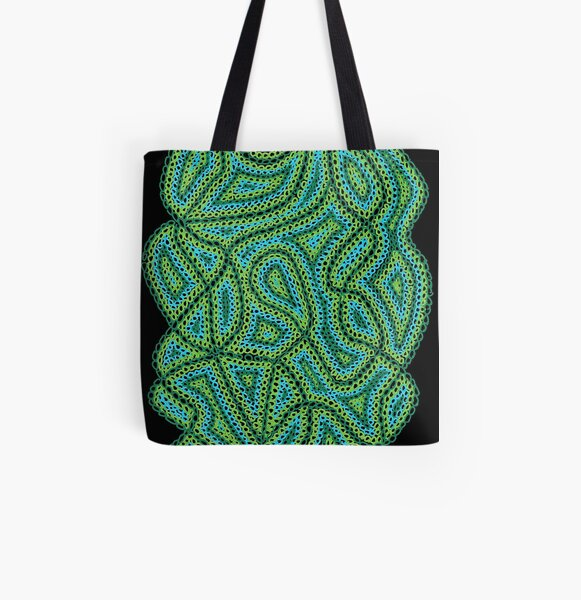 Green & Blue Circles - Black Background All Over Print Tote Bag