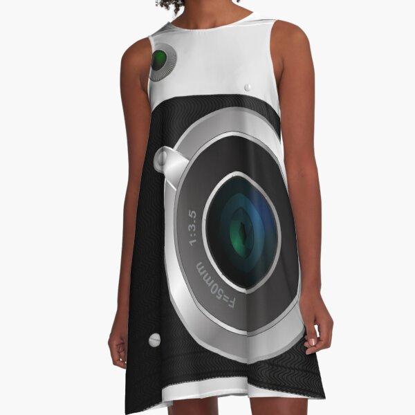 Old rangefinder film camera on a white background A-Line Dress