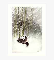 Pandas In The Snow Art Print