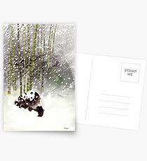 Pandas In The Snow Postcards