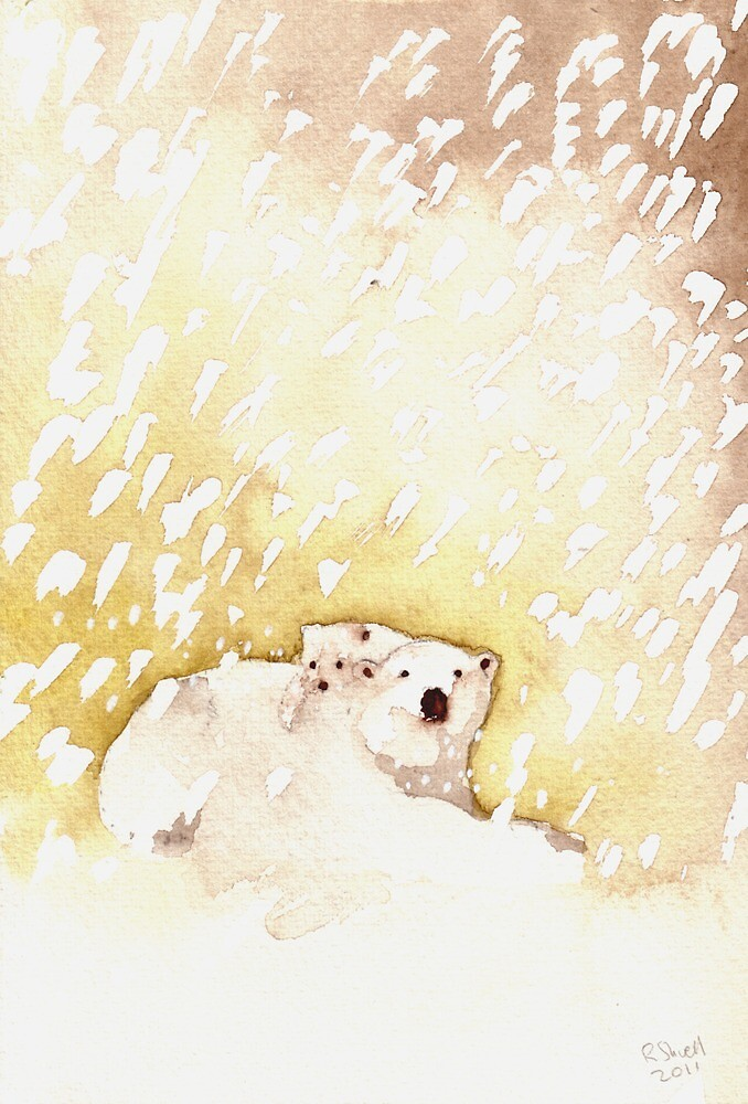 Polar Bear and Cub in the Snow by Ray Shuell