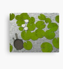 Water lilies with Florida Soft-shell Turtle Canvas Print