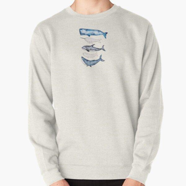 Watercolor Whales Pullover Sweatshirt