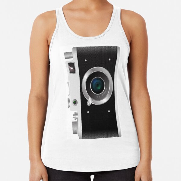 Old rangefinder film camera on a white background Racerback Tank Top
