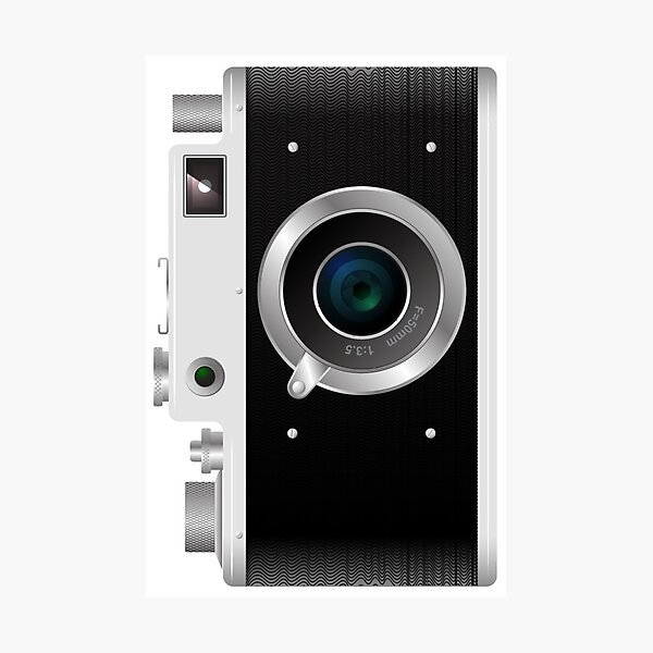 Old rangefinder film camera on a white background Photographic Print