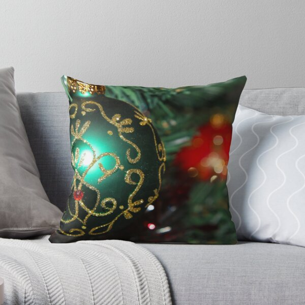 Merry Christmas, green and red Throw Pillow