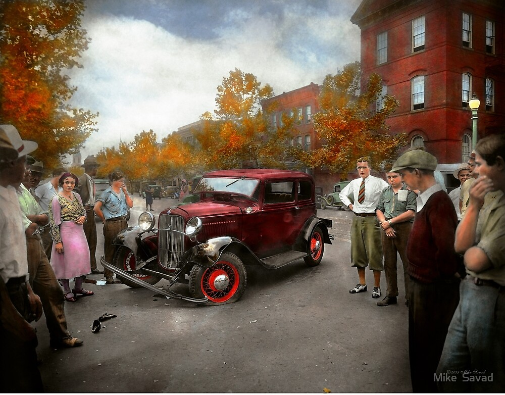 Car - Accident - Late for tee time 1932 by Michael Savad