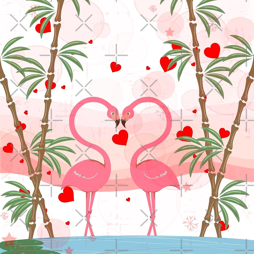 Pink Flamingos In Love & Red Hearts  by artonwear