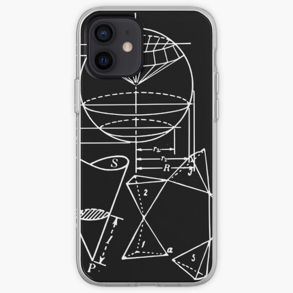 Vintage Math Diagrams - white on black iPhone Soft Case