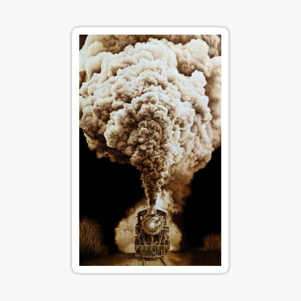 Incredible Steam Train Woodburning by Minisa Robinson Sticker