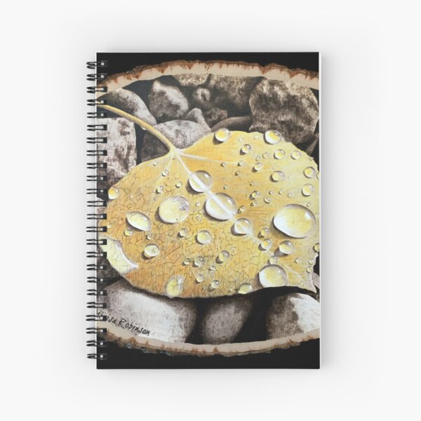 Woodburning of an Aspen Leaf by Minisa Robinson Spiral Notebook