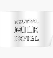 Neutral Milk Hotel - White with Black Outline Poster
