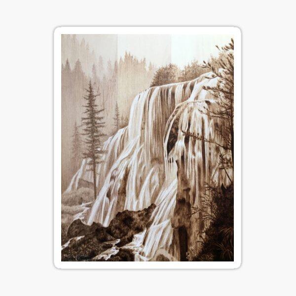 Waterfall woodburning art by Minisa Robinson Sticker