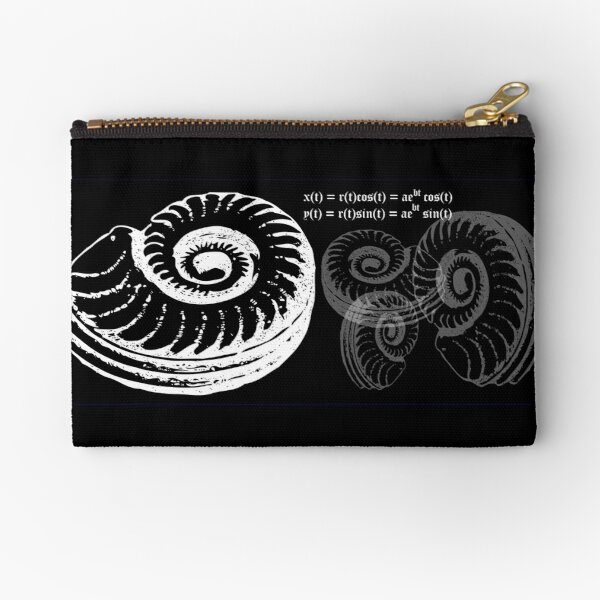 Spiral Shell with Math (white) Zipper Pouch