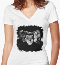 Classic Monsters Black & White POP! Women's Fitted V-Neck T-Shirt