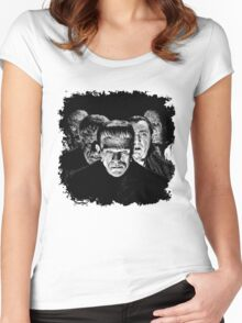 Classic Monsters Black & White POP! Women's Fitted Scoop T-Shirt