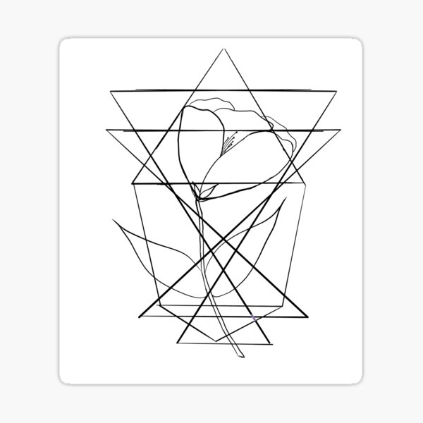 Geometric Caged Flower Sticker