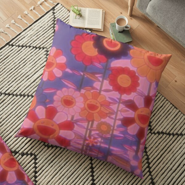 indie happy flowers trippy  Floor Pillow