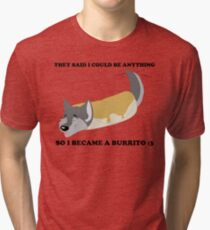 Burrito Wolf - Black Text Tri-blend T-Shirt