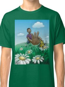 Young boy catching butterfly* Classic T-Shirt