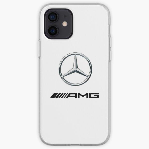 MEJOR CALIDAD - Logotipo de Mercedes-Benz AMG Plata Negro Funda blanda para iPhone
