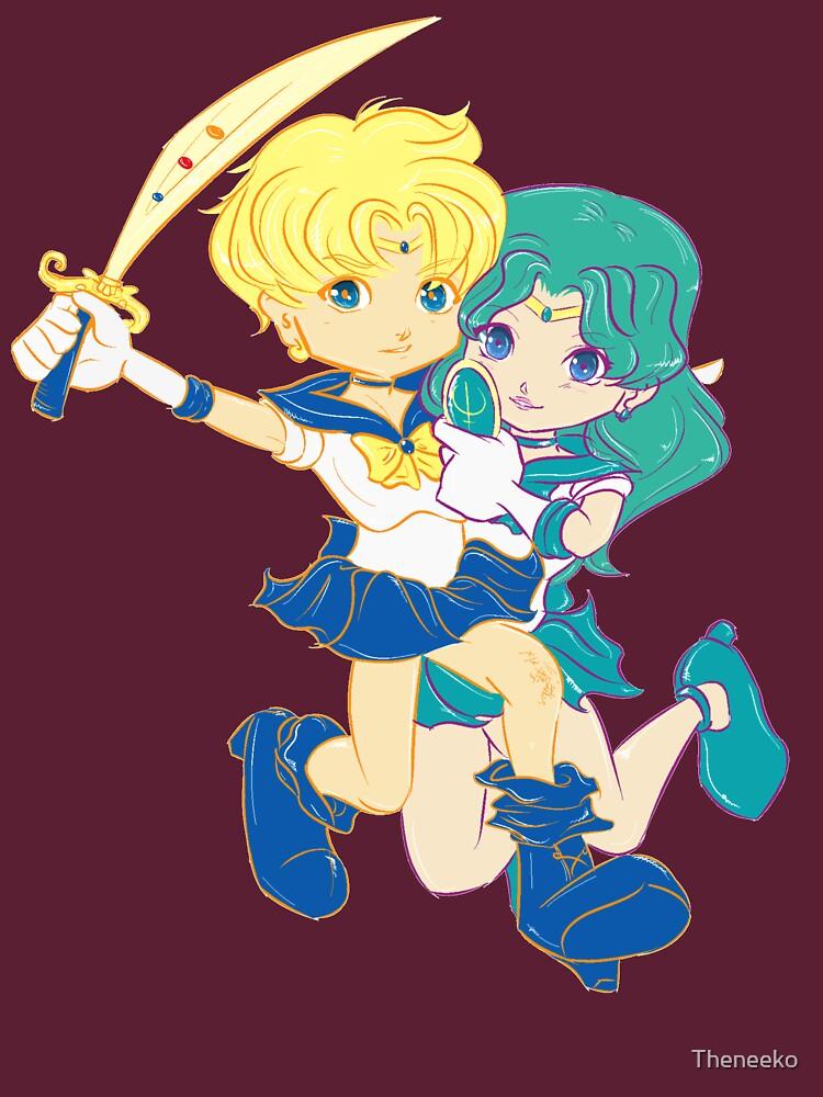 Chibi Sailor Uranus and Chibi Sailor Neptune by Theneeko