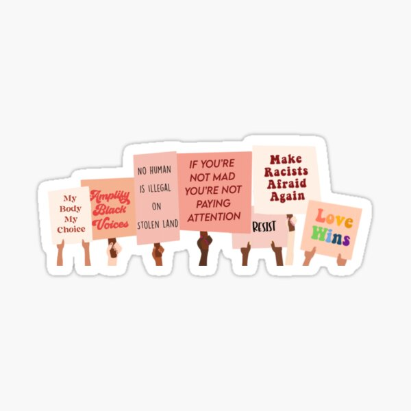 Protest Signs for Equality Sticker