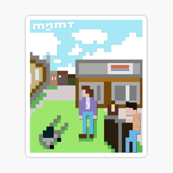 Mgmt 8bit Album Cover - Self Titled Psychedelic Retro artwork Sticker